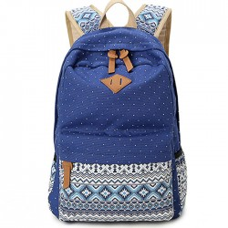 Folk Leisure Polka Dot Rucksack Bohemia Trunk College Canvas Backpack
