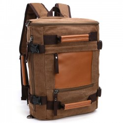 Retro Splicing Bucket Large Capacity School Bag Cylindrical Travel Canvas Backpack