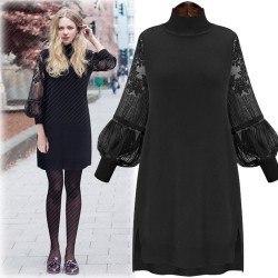 Fashion Large Size Lace Dress Stitching Bishop Sleeved Backing Skirt