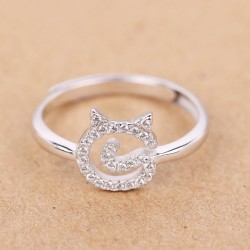Silver Small Zircon Cute Kitty Face Lady Kitten Open Ring