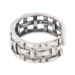 Vintage 925 Sterling Silver Women Open Weave Knot Ring