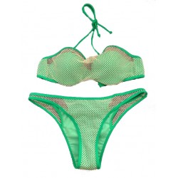 Net Stitching Green Swimsuit Sexy Bikini Swimwear Bathingsuit