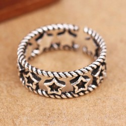 Vintage Hollow Accessory Silver Rings Star Open Ring