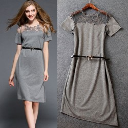 Sexy Embroidered Gauze Clairvoyant Collar Spliced Asymmetrical Hem Slits Dress