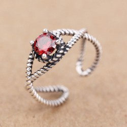 Vintage Red Zircon Twist Silver Women Open Rings