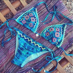 Gradient Embroidery Blue Sexy Bikini Set Swimsuit Beach Bathing Suits