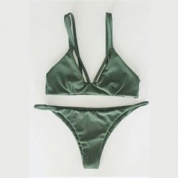 Dark Green and Weave Bikini Sexy Bandage Halter Swimsuit