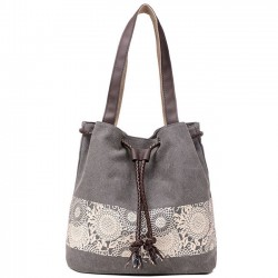 Retro Girl's Canvas National Style Flowers Printing Draw String Shoulder Bag Shopping Handbag