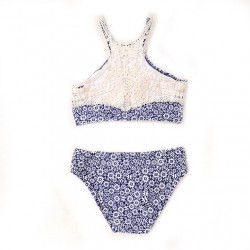 Blue chrysanthemum Printing Bikini Set Swimsuit  Athletic Swimwear Bathingsuit
