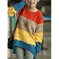 Unique Rainbow Hollow Out Irregular Loose Sweater&Cardigan