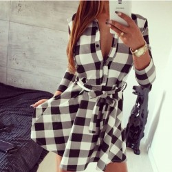 Women's With Lattice Bodycon Dress Tops Three Quarter Sleeve Dress Shirt