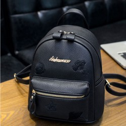 Fashion Small Black Mini Bag PU Simple Girl Backpack