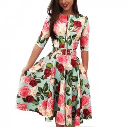 Fashion Red Flower Rose Leaf Print Middle Sleeve Summer Dress