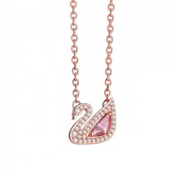 Romantic Swan Pink Crystal Rhinestone Pendant Silver Necklace Lover Gift Women Necklace