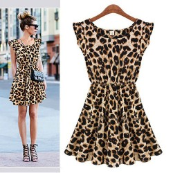 Casual Sleeveless Leopard Chiffon Dress