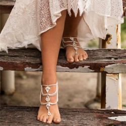 Leisure Bohemian Ethnic Hand-made Feet Accessory Summer Diamonds Drop Tassel Anklets