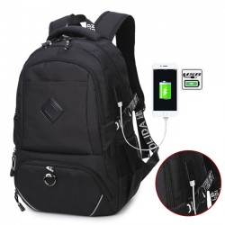 Leisure Laptop Bag Large USB Interface Trunk Simple Travel Rucksack Sport Backpack