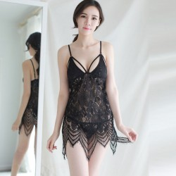 Sexy Lace Transparent Erotic Lingerie Strap Nightdress Perspective Pajamas Hollow Lingerie