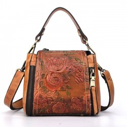 Vintage Handmade Flower Embossed Handbag Retro Real Leather Rose Shoulder Bag