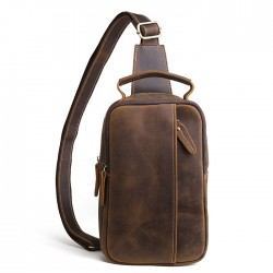 Retro Small Cross-body Bag Handmade Real Leather Men's Original Shoulder Bag