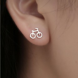Cute Mini Bike Hollow Bicycle Lady Silver Earring Studs