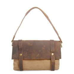 Retro Cowhide Leather Canvas Messenger Bag