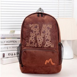 Fashion Brown Letters Embossed Travel Backpack