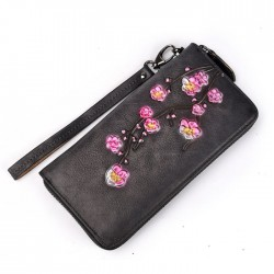 Retro Phone Purse Flower Clutch Bag Frosted Embossed Plum Long Wallet