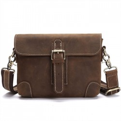 Retro Single Buckle Leather Vintage Shoulder Bag Messenger Bag