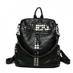 Punk Multifunction Rivet Black Soft Leather Shoulder Bag Student Bag School Backpacks
