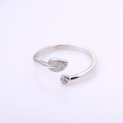 Unique Leaves Crystal Ring Silver Open Ring