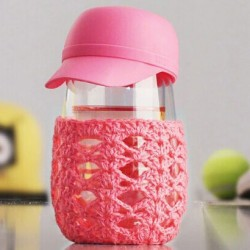 Creative Lovely Hat Knitted Outerwear Transparent Glass Cup