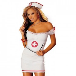 Sexy Nurse Strapless Dress Lady Nurse Costumes Nightdress Cosplay Lingerie