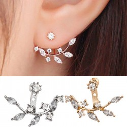 Cute Crystal Leaves Girl's Alloy Earring Studs
