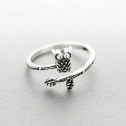 Cute Ethnic Style Thai Silver Owl Ring Art Branch Open Ring