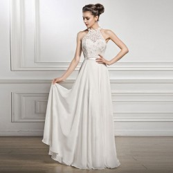 Fashion Wedding White Long Dress Lace Sleeveless Party Bridesmaid Dress Formal Dress