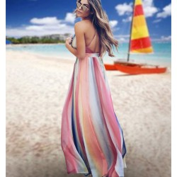 Leisure Multi-color Stripe Open-back Cross Suspender Bohemian Long Summer Dress