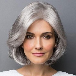 Fashion Gray Oblique Bangs Short Wig Female Middle Curly Hair Wig
