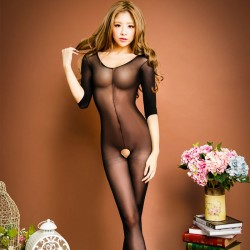 Sexy Open Pussy Perspective One-piece Temptation underwear Tights Hot Girl's Stocking Conjoined Lingerie