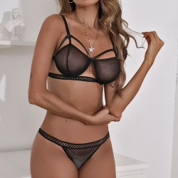 Sexy Black Tights Bra Set Intimate Steel Ring Perspective Hot Teenage Lingerie