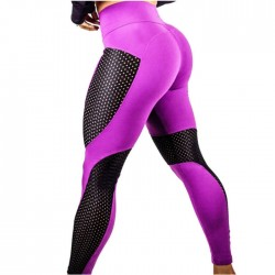 Sexy Yoga Mesh Stitching Contrast Color Hips Slim High Waist Sports Leggings
