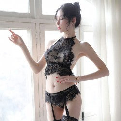 Sexy Black Perspective Eyelash Lace Splice Bra Set Women's Lingerie