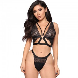 Black Lingerie For Women Lace Bra Panty 2 Piece Set Strap Underwear Bandage Underwear Lingerie