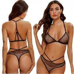 Sexy Black Dot Perspective Bra Set Underwear Sling Women's Lingerie