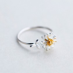 Sweet Yellow Daisy Flower Leaves Silver Open Rings For Women Jewelry Birthday's Gift For Her Ring