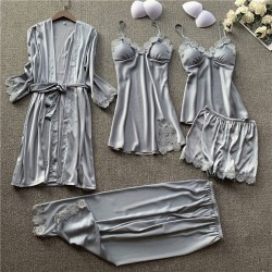Sexy Five-Piece Suit Ladies Nightgown Shorts Female Pajamas Lace Spring Autumn Thin Silk Sling Nightdress Pajamas