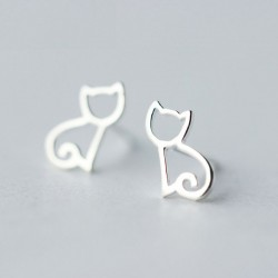 Cute Hollow Kitten Accessory Cat  Silver Animal Earring Studs