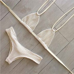 White gauze Swimsuit Sexy Bikini Halter Swimwear Bathingsuit