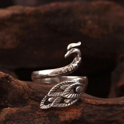 Original Silver Phoenix Ring Folk Style Peacock Open Ring
