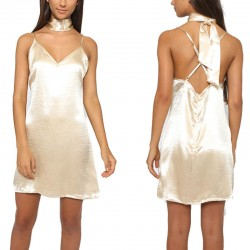 Sexy Halter Backless Lace Silk Dress Party Dress